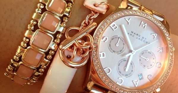 #Jewelry Gold Rosegold Watch Bracelet Peach & Rose Gold / Marc Jacobs