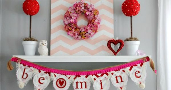 Valentines Mantel and Valentines Decor Ideas