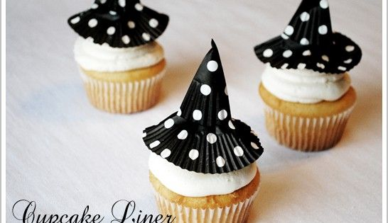 Halloween cupcake liner witches hat cupcakes