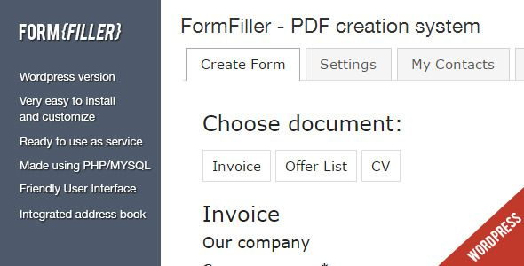 FormFiller - Wordpress documents creation system  FormFiller is - invoice creation