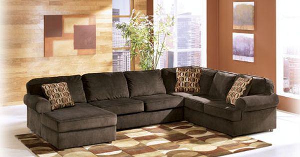 Ashley Furniture Vista Chocolate Laf Chaise Sectional Como Decorar La Sala Decoracion De Interiores Decoraciones De Casa