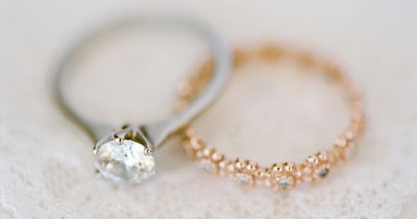 platinum ring with gold band. love the mix and the cute band!