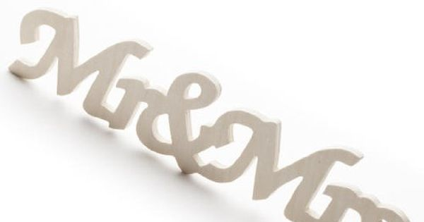"Set Of 6 Unfinished Wooden Cursive ""Mr. And Mrs."" Wood"