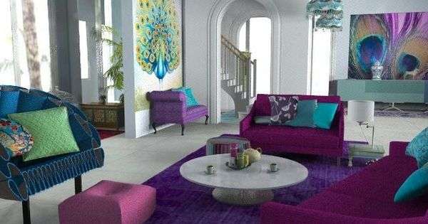 Pin by karen hall on vintage glam in purple black teal and for Black and purple living room ideas