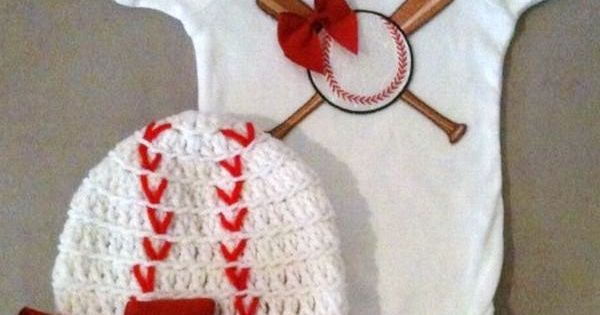 Baseball onesie set for baby girls with matching baseball beanie hat w/