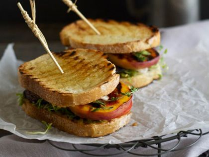 Grilled Portobello and Peach Sandwich | Recipe | Grilled ...