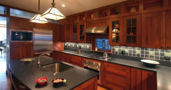 Honed Black Granite Counters With Shaker Style Cherry