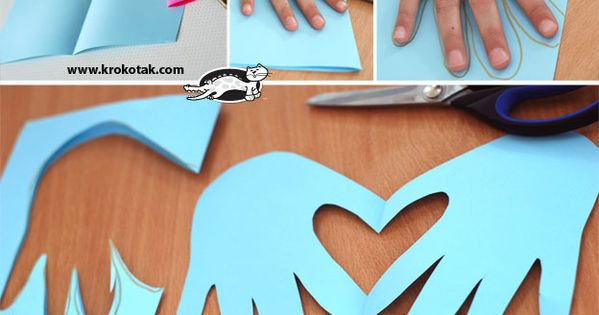 Hand print heart card for Valentine's Day - very cute and easy