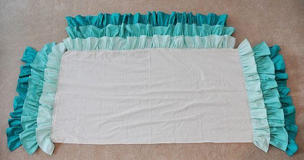 Ruffled Crib Skirt Tutorial, super easy. Bet the same design would work
