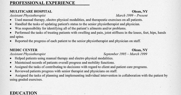 Resume Sample Assistant Physiotherapist Resume (http://resumecompanion.com)