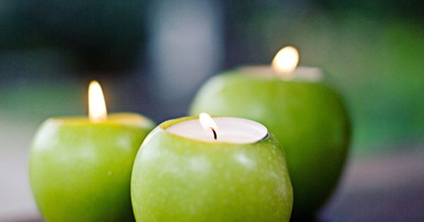 Delicious tealight candles?  These apple candle holders are the perfect touch to