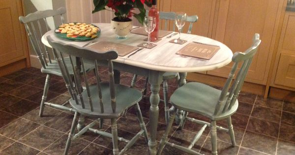 Extendable dining room table and chairs painted in annie for Duck egg dining room ideas