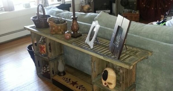 Wooden crates ideas sofa table made from shutter and old for Where can i buy wooden milk crates