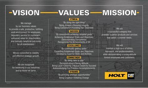 Holt Cat Mission Vision Values Based Leadership Business Mission Company Mission Statement Vision And Mission Statement