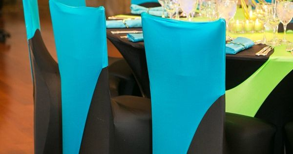 Bar Mitzvah Party Spandex Linens Chair Covers In Neon