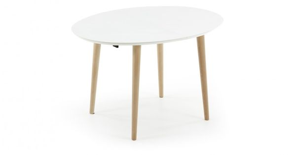 table oqui extensible ovale 160 260 cm naturel et blanc extensible table et table moderne. Black Bedroom Furniture Sets. Home Design Ideas