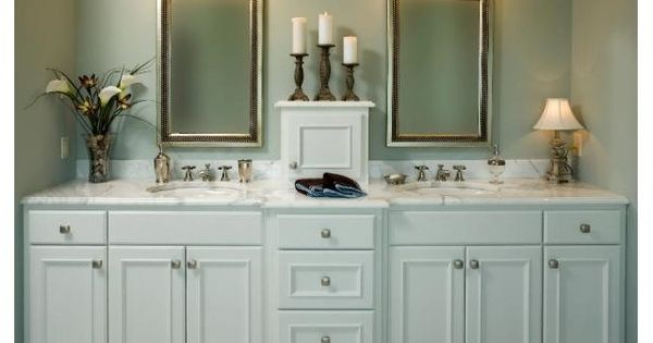 Master Bathroom Ideas I Like The Small Cabinet In The Middle On The Sink Home Bathroom