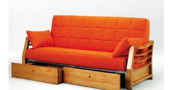 Sofa cama con cajones sofa cama tres plazas sofa cama tapizado en tela de color naranja - Sofas con cajones ...