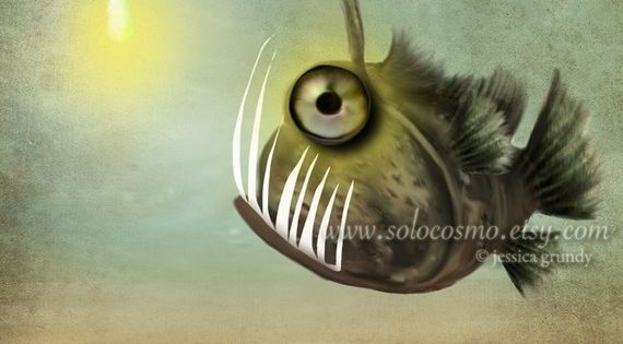 This is a aceo print for sale mr fishy on his own by for Angler fish for sale