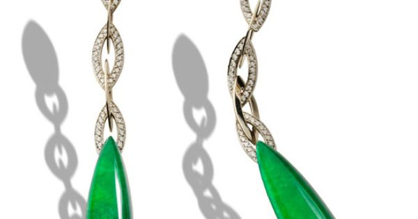 Tendance Art Déco  White Gold Diamonds, Jade and White Gold