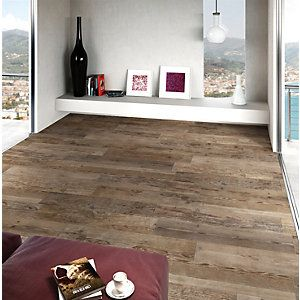 Wickes Madeira Dark Oak Wood Effect Porcelain Floor Wall Tile 140x840mm Wood Effect Tiles Flooring Wood Look Tile Floor
