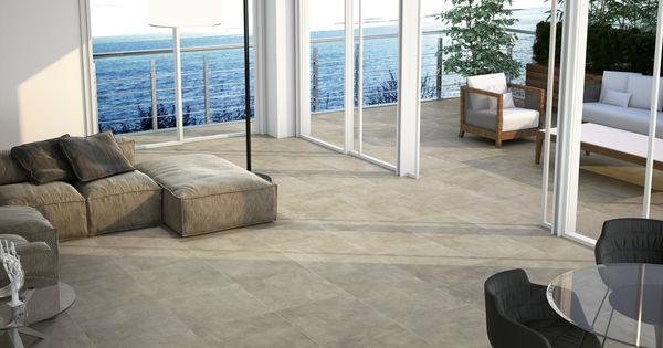 Pavimento de gres porcel nico efecto concreto para - Gres para exteriores ...