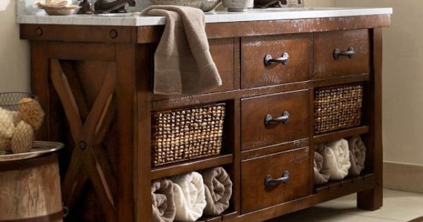 Barn Style Sink : Benchwright Double Sink Console Pottery Barn Bathroom ideas ...
