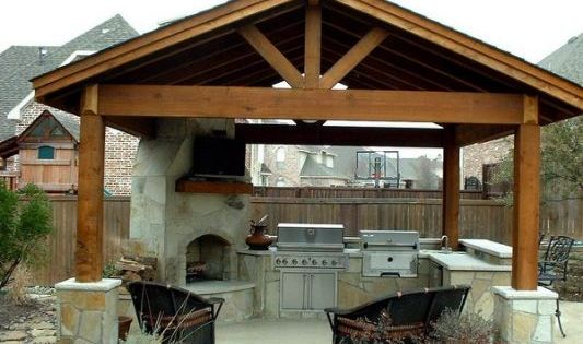 covered patio designs on a budget | outdoor kitchens ... on Patio Cover Ideas On A Budget id=37322