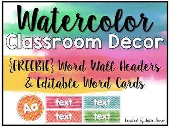 Watercolor Classroom Decor Free Word Wall Headers Editable Word