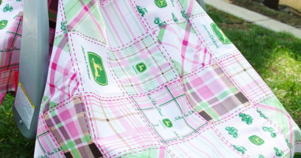 Pink And Green Plaid John Deere Baby Car Seat Cover Baby