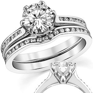Round Channel Moissanite Wedding Set With Woven Prongs Wed705 Moissanite Wedding Set Wedding Sets Forever One Moissanite