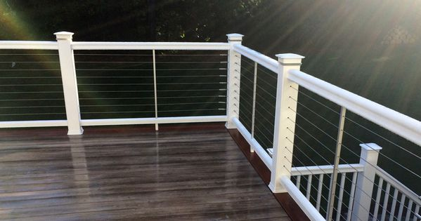 Timbertech Radiancerail In Coastal White Installed With Cablerail With Decklites Post Light Modules Cable Railing Deck Deck Railings White Deck
