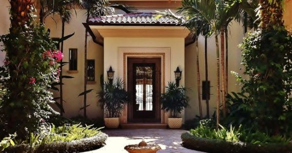 Mediterranean entry front steps design pictures remodel for Courtyard renovation ideas