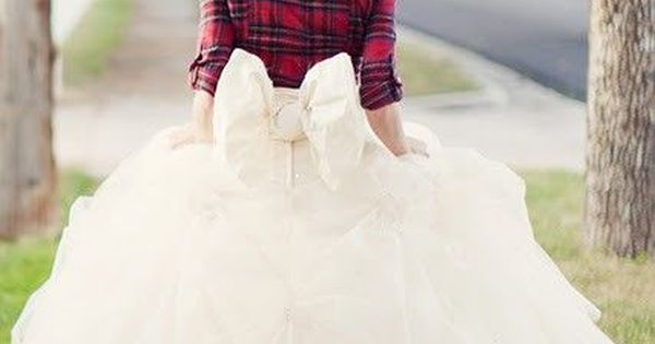 country wedding dress ideas - love the flannel shirt