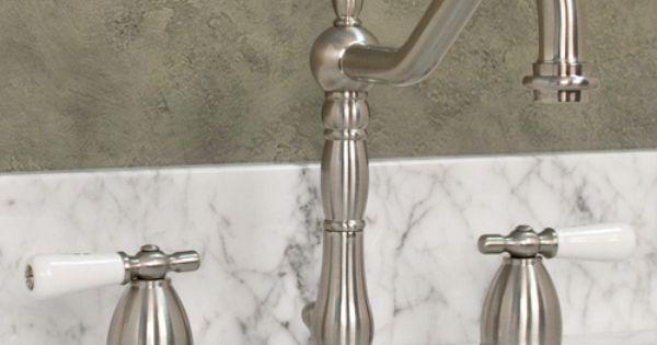 Victorian Widespread Bathroom Faucet Small Porcelain Lever Handles Lavatory Faucet Faucet