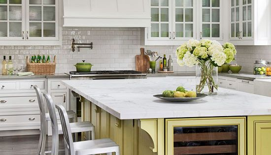 Add color to an all-white kitchen with a painted island.