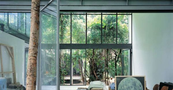 glass house - my dreams... metal windows, open floor plan, and contemporary