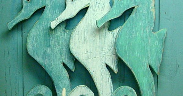 Large Sea Glass Green Weathered Wood Seahorse by CastawaysHall, $60.00