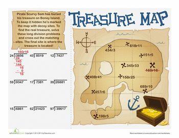Long Division Treasure Map Fifth Grade Math Math Division Long