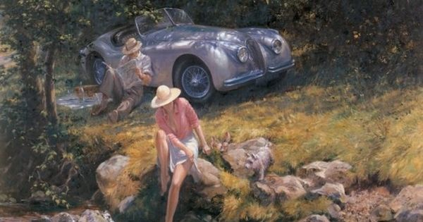 classic car paintings by alan fearnley home pinterest. Black Bedroom Furniture Sets. Home Design Ideas