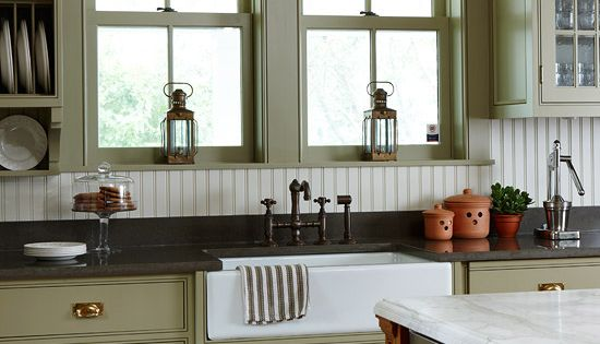 Farmhouse sink cool faucet love the open shelving even for Coloured sinks kitchens
