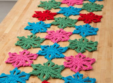 Snowflake Table Runner Free Crochet Pattern from Red Heart ...