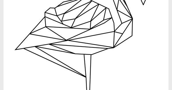free printable - geometric flamingo