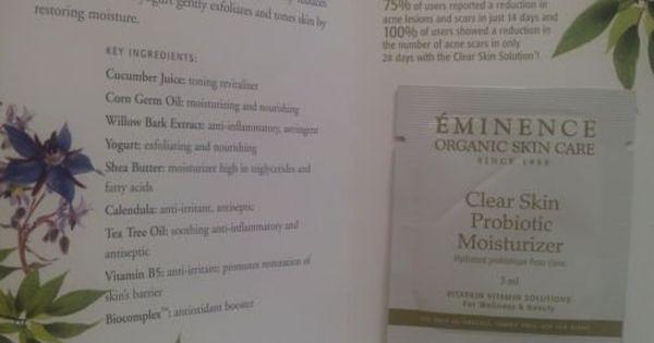 Clear Skin Probiotic Moisturizer By Eminence Organic Skin Care Card Sample Set Of 6 Samples Travel Size Eminence Organic Skin Care Organic Skin Care Skin Care