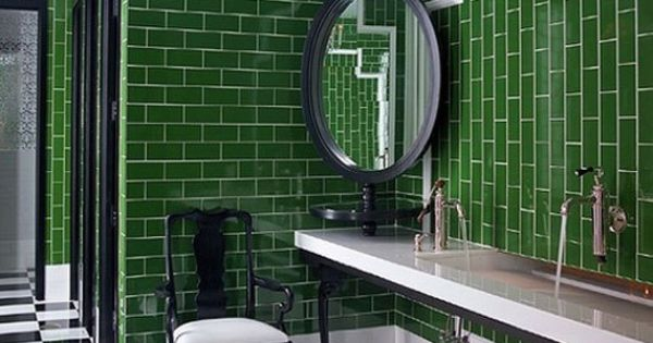 Emerald Green subway tiles make this bathroom