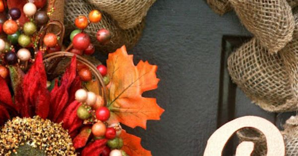 Pretty fall wreath for front door. The Easiest Fall Burlap Wreath Tutorial