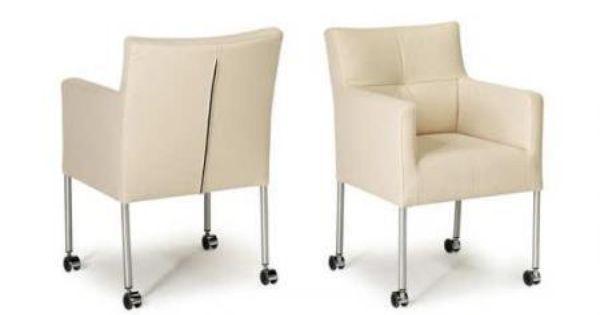 Leren stoelen demi van hvs met rvs poten en wielen for Stoel carla