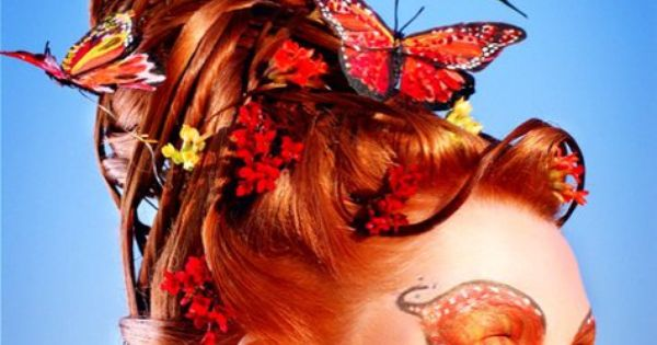 Queen Of Hearts Hairstyles: Avant Garde Hairstyle With Butterflies By Shawn Arrington