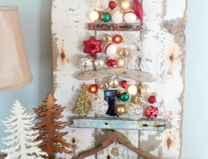 Make a wood and ornament christmas tree - it has fun little