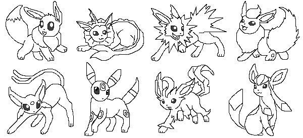 Eevee Mega Pokemon Coloring Pages Pokemon Eevee Evolutions